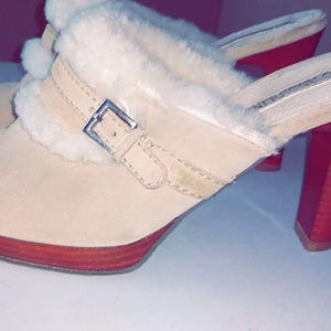 Enzo Angiolini Suede/ Shearling Clogs Womans size7